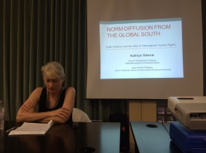 Kathryn Sikkink at her Norm Diffusion talk at Tulane University